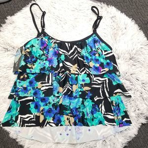 NWT Maxine of Hollywood Blue Floral Tiered Tank 16